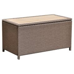 Poolside or on the patio, this classic wicker-inspired storage bench is ideal for stowing cushions and pillows or gardening supplies. Patio Storage, Storage Trunk, Storing Towels, Cool Deck, Deck Box, Patio Cushions, Pool Accessories, Gardening Supplies, Outdoor Furniture