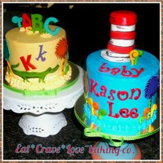 Dr.Seuss cat in the hat, abc's cakes for a baby shower