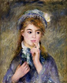 (France) Madame Monet in the blue hat, 1874 by Pierre Auguste Renoir Oil on canvas. Pierre Auguste Renoir, Edouard Manet, August Renoir, Renoir Paintings, Clark Art, Impressionist Paintings, Impressionism Art, Oil Painting Reproductions, Impressionist