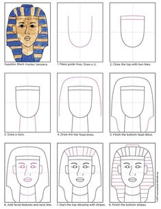 How To Draw King Tut, part of Egyptian art lessons Ancient Egypt Art For Kids, Ancient Egypt Lessons, Ancient Egypt Activities, Ancient Egypt Crafts, Egyptian Crafts, Ancient Egyptian Art, Ancient History, Egyptian Symbols, Ancient Aliens