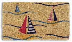 beach decor sailboat mat