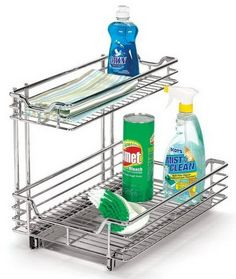 ORG™ Mesh 2-Tier Sliding Cabinet Basket in Silver | D, Products ...