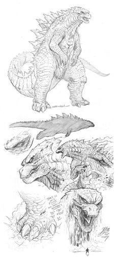 Godzilla 2014 art by Matt Frank: when you really take a minute to look at him, you see a being shaped by nature to be the ultimate alpha predator, the true King of the Monsters.