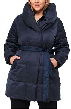 Main Image - Evans Belted Puffer Jacket (Plus Size)