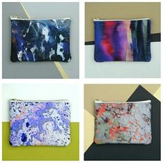 Printed silk & leather clutch bags. Made in London £65 www.samanthawarren.co.uk Paintings inspired by Icelandic landscape