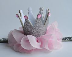 Adorable Pink and Gold Glitter Crown Headband by AverysCoutureLook