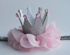 Gold Baby Crown Headband White/Gold Crown by Moonpennieskids