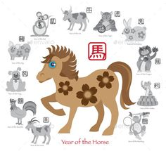 Chinese New Year Horse Color with Twelve Zodiacs Illustration by jpldesigns. Chinese New Year of the Horse Color with Twelve Zodiacs with Chinese Text Seal in Circle Grayscale Illustration