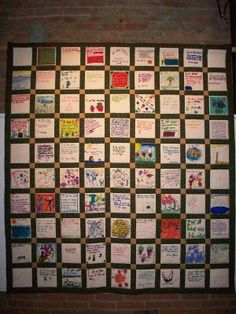 More of a literature pin-- but-- I think this would be a great integrated activity of art and writing.  Have students create a poem during  a poetry unit and then have them illustrate the poem.  Put the pieces together to make a quilt as a class.  Could use for open house. -- Kelsey Burke