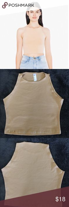 American Apparel ~ Nude Sleeveless Crop Top Condition :: New with tags 🏷  Brand 🛍 :: American Apparel   Size :: Small  Description :: Never Worn Before. Model wearing a small American Apparel Tops Crop Tops