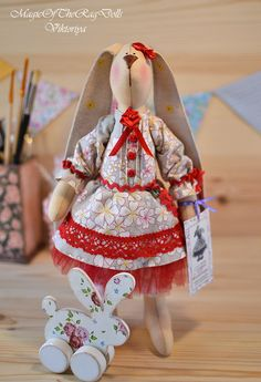 Tilda rabbit stuffed fabric doll gift for girl, Bunny tilda doll this cloth doll handmade for children room décor,  Soft bunny  handmade toy