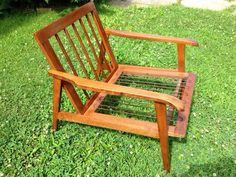 1960s MCM Mid Century Modern Danish Chair. Manufactured by Tell City Chair Company in Indiana. Rubber springs on bottom to support seat pad. This is for
