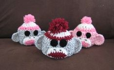 free crochet pattern - sock monkey baby hat. - with some alterations in size this could be a tp cover or a canister cover