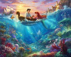 "Disney Dreams The Little Mermaid Fabric Panel - 36"" x 44"" - Thomas Kinkade - Four Seasons by David T"