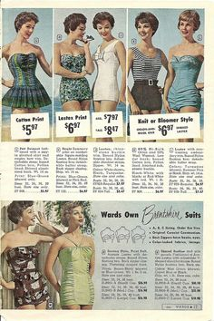 Love the first suit on the top left - that cute pleated skirt is to die for! #swimsuit #bathing_suit #1950s #vintage #beach #summer