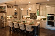 Diamond - Dover with grey glaze cabinets.  kitchen aid appliances, Henderson door style