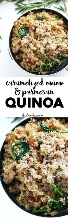 Onion and Parmesan Quinoa A healthy make ahead meal that's only 6 ingredients and vegetarian, too!A healthy make ahead meal that's only 6 ingredients and vegetarian, too! Healthy Side Dishes, Side Dish Recipes, Veggie Recipes, New Recipes, Vegetarian Recipes, Cooking Recipes, Favorite Recipes, Healthy Recipes, Side Dishes