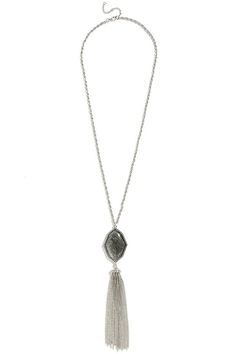 Stone Stronghold Silver Tassel Necklace at Lulus.com!