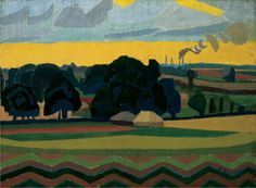 Spencer Frederick Gore. The Beanfield, Letchworth. 1912. One of Gore's most stylised paintings, it uses flat and vivid colour to abbreviate form and give distinctive angular patterns to the landscape, especially in the foreground zig-zag bordering the field of beans behind. (Tate) For a Gallery Talk about it http://www.youtube.com/watch?v=AKird0glR4E