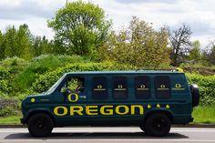 Oregon Duck Spring Football Game, complete with a rad van. #nationalbrand #oregon #ducks