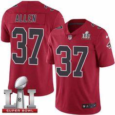 Men's Falcons #37 Ricardo Allen Red Super Bowl LI 51 Stitched NFL Limited Rush Jersey