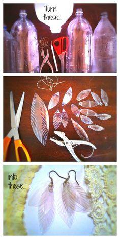 Turn plastic bottles into leafy (feathery?) earrings - DIY
