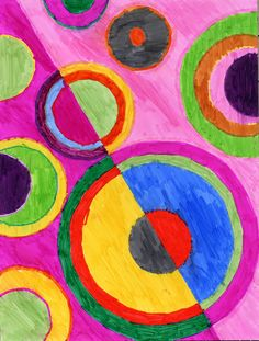 Sonia Delaunay was a ground-breaking female artist who made some wonderful abstract paintings known for their rhythm and color. My goal was to have the students learn that if they used repeating shapes and colors in their art, they could create a very rhythmic picture too. Materials: • Transparent circle stencils, Laurie Speltz, The Creative Coach, who … Read More