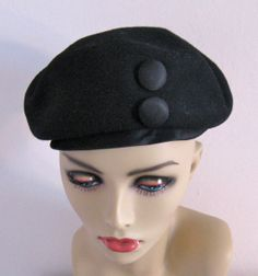 Vintage  40s hat with Buttons by Patrice by vintagous on Etsy, $24.00