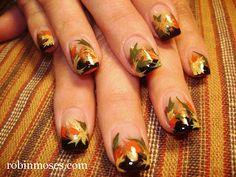 Nail-art by Robin Moses: Fall &Thanksgiving  nail art #autumnleaves #nailart