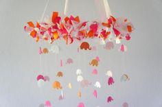 Pink & Orange Nursery Mobile- Baby Girl Elephant Nursery Decor, Baby Shower Gift, Crib Mobile