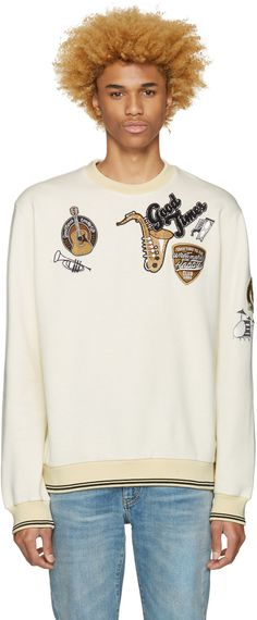 DOLCE & GABBANA Ivory 'Good Times' Pullover. #dolcegabbana #cloth #pullover