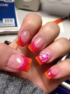 Tropical obsession nails pink and orange fade with acrylic Toe Nails, Pink Nails, Bridal Shower Nails, Mani Pedi, Manicure, Faded Nails, Acrylic Nail Tips, Beach Nails, Nail Spa