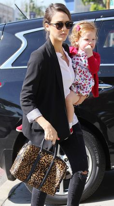 The Many Bags of Celebrity Moms Jessica Alba A.L.C. Lucas Leopard Satchel