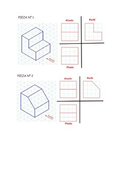 Vistas leo con soluciones Isometric Drawing Exercises, Isometric Art, Isometric Design, Interior Architecture Drawing, Orthographic Drawing, Perspective Drawing Lessons, Solidworks Tutorial, Axonometric Drawing, Interesting Drawings