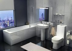 Tavistock Micra Space Saving Bathroom Suite - option of bath Contemporary Shower, Modern Shower, Cheap Bathrooms, Amazing Bathrooms, Small Bathrooms, Small Bathroom Suites, Fitted Bathroom, Space Saving Bathroom, Shower Tile Designs