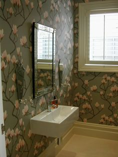 Magnolia wallpaper in stunning bathroom