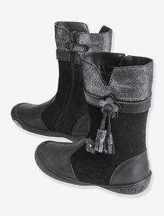 Botas de piel especial guardería, para niña - Negro - 6