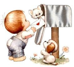 Ruth Morehead - Toddler Boy at Mailbox Mailing Valentine with Kitty & Puppy