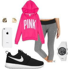 """Roshe Game Pink"" by peytonicholee on Polyvore  Lya sweatshirt with my black yoga pants and Oreo roshes"