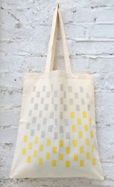 Tote bag: 'Uno' grey/yellow cotton tote bag hand by Patternalism