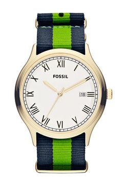 GIVE ME THIS.  Fossil 'Ansel' Nylon Strap Watch, 41mm available at #Nordstrom