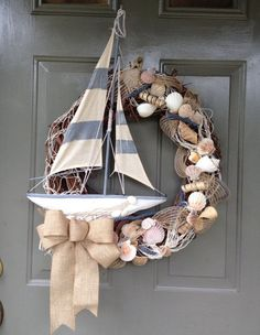 Beach Wreath Nautical Wreath Summer Wreath by YellowFinchWreaths Sand 'N Sea Properties LLC, Galveston, TX Nautical Wreath, Seashell Wreath, Seashell Crafts, Beach Crafts, Diy Crafts, Beach Themed Crafts, Deco Marine, Coastal Christmas, Prim Christmas