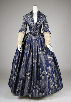 Blue Floral Brocade Dress from 1842 (The Metropolitan Museum of Art)