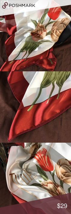 "Vintage Tulip 39"" Square Scarf Expansive with silky claret border, red and camel tulips, satin and sheer ivory stripes. Luxurious look — feels sexy and sumptuous! Tulip Accessories Scarves & Wraps"