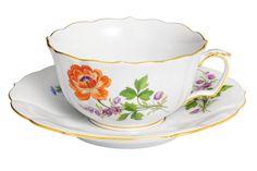 "Tea c & s, Shape ""Neuer Ausschnitt"", Vintage Flowerpainting 2, Ranunkel, gold rim, V 0,20 l"