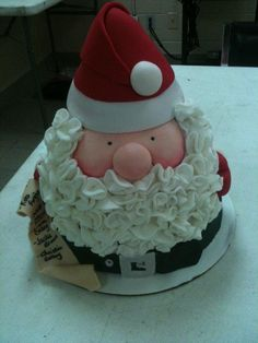 """This is Royal Bakery's Jolly Santa cake. I made it for a work pot luck, so excuse the ugly background ;) The names on the """"naughty list"""" are the upper management team from work. I used strawberry cake with strawberry buttercream for the cake. FYI..."""