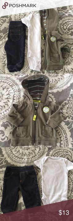 """nb hoodie outfit Adorable little man outfit.  Super soft """"jeans"""" are a sweatpants material.  White onesie & olive green """"Mommy's Best Friend"""" Hoodie.   Excellent condition. Worn one month or less Carter's One Pieces Bodysuits"""