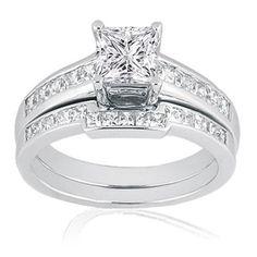 1 Ct Princess Cut Diamond Engagement Wedding Rings Channel Set 14K FLAWLESS GIA: Jewelry: Amazon.com