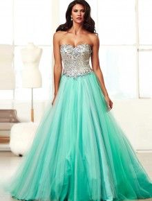 2014 Style Ball Gown Sweetheart  Beading  Sleeveless Floor-length Tulle  Prom Dresses / Evening Dresses