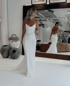 The Honey wedding dress oozes sophistication. A luxurious double-layered Crepe de Chine silk gown,. Shop online or book a bridal showroom appointment today! Cute Wedding Dress, Dream Wedding Dresses, Bridal Dresses, Wedding Reception Dresses, Lace Wedding Gowns, Boho Wedding, Wedding Ideas, Civil Wedding Dresses, White Lace Wedding Dress